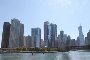 Chicago's spectacular skyline, seen from a guided cruise on the Chicago River.