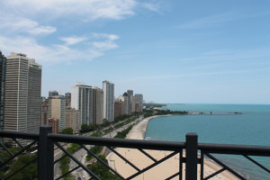 A view of Lake Michigan from a rooftop garden of a private residence.