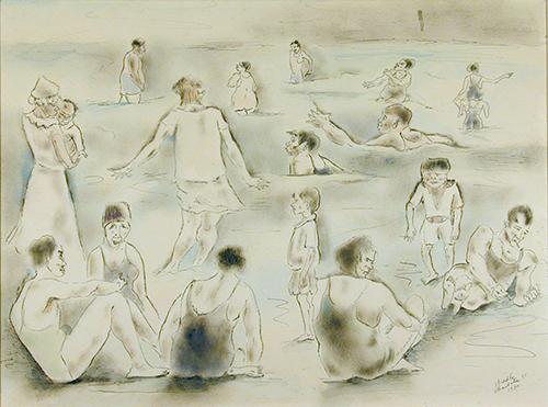 The Crowd, Folly Beach, 1930 By George Biddle