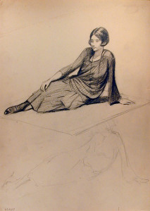 Untitled (Young Woman Sitting on Rug), n. d., By Leila Waring (American, 1876 – 1964)