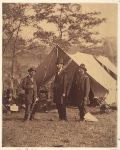 [President Abraham Lincoln, Major General John A. McClernand and E. J. Allen (Allan Pinkerton)], 1862, by Alexander Gardner (American, Glasgow, Scotland 1821–1882 Washington, D.C.)