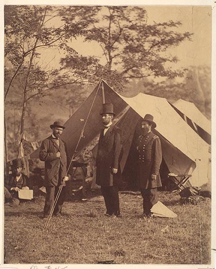[President Abraham Lincoln, Major General John A. McClernand and E. J. Allen (Allan Pinkerton)], 1862, by Alexander Gardner (American, Glasgow, Scotland 1821–1882 Washington, D.C.)