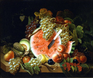 Still Life with Watermelon, ca. 1840s, by Thomas Wightman (American, 1811 - 1888)