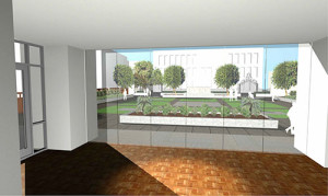 An architectural rendering of the Gibbes Courtyard as viewed from the first floor interior of the renovated museum.