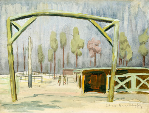 Gateway to Mule Stables [Camp Jackson, South Carolina], by Charles Burchfield (American, 1893–1967)