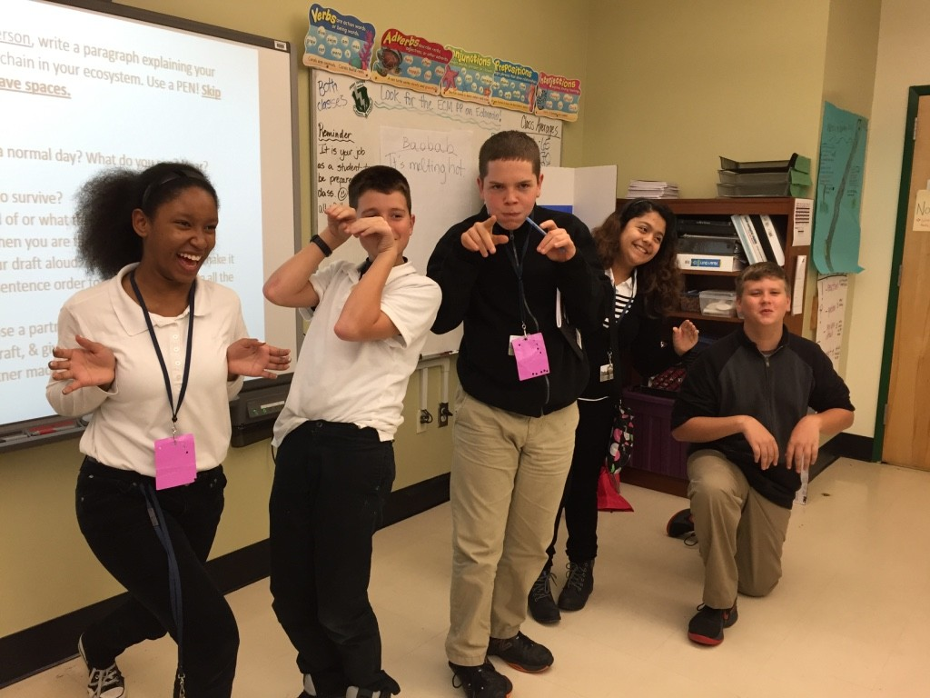 """Students act out a food chain during the """"Biome to Biome"""" day."""