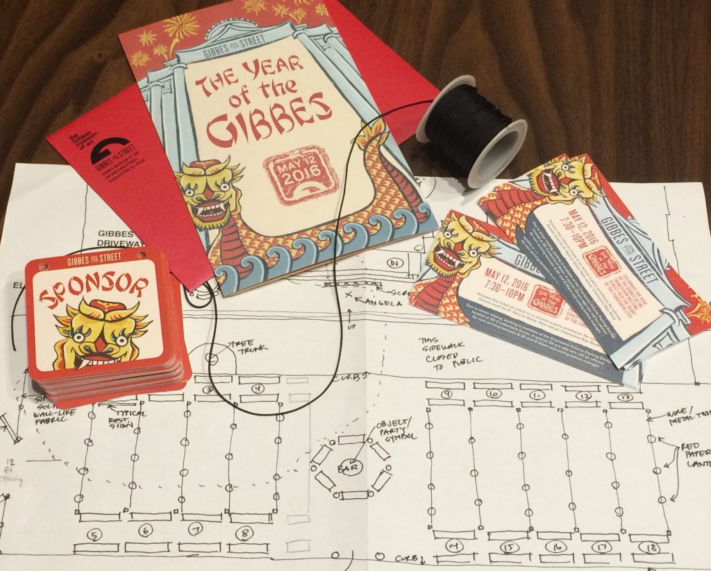 Invitations, tickets, sponsor badges, and other details for The Year of the Gibbes celebration.