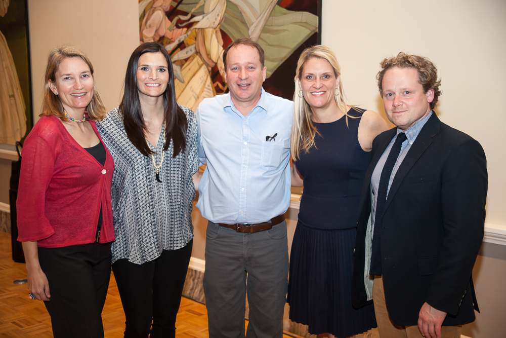 Society 1858 Members Janneke Vreede-Schaay, Emily Broome, Amy Coy, and Jamieson Clair with artist John Westmark