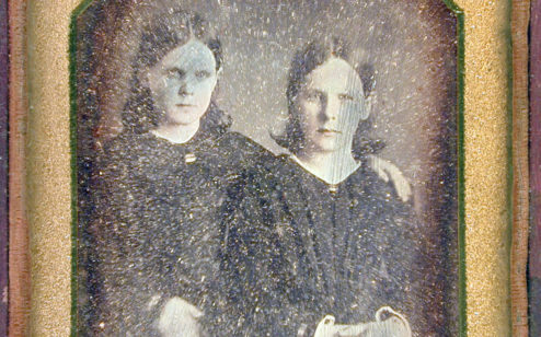 Unknown (two young girls), by unknown artist; daguerreotype; 3 ½ s 2 ½ inches; 1980.006.0004