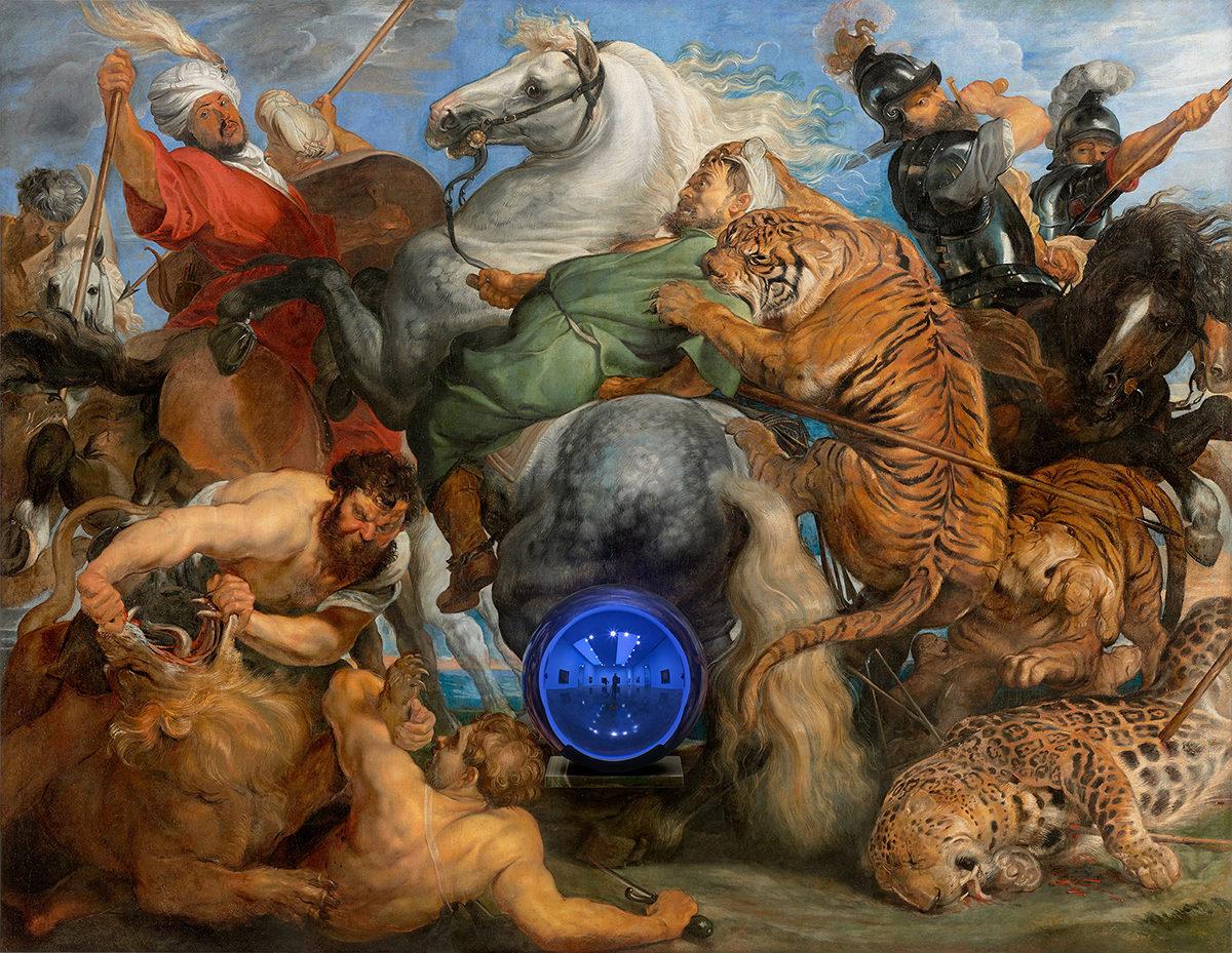 Gazing Ball (Rubens, Tiger Hunt), 2015, by Jeff Koons