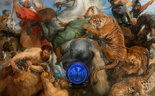 Gazing Ball (Rubens, Tiger Hunt), 2015, by Jeff Koons