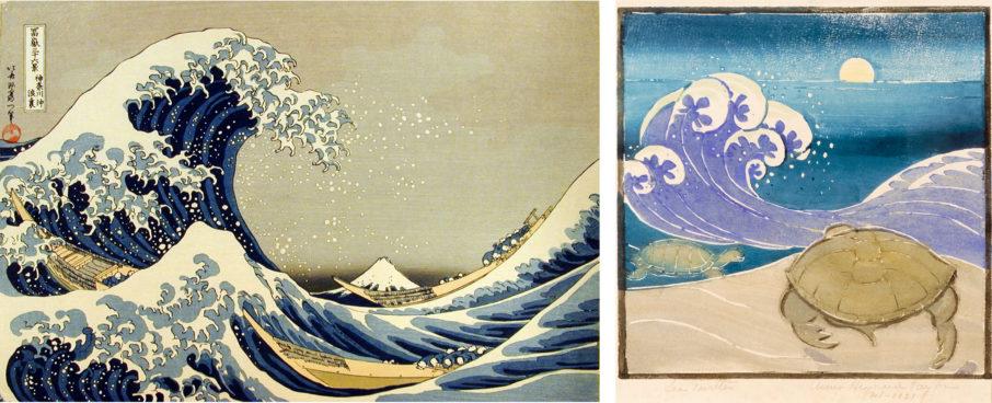 The Great Wave by Katsushika Hokusai and Sea Turtle, 1929, by Anna Heyward Taylor