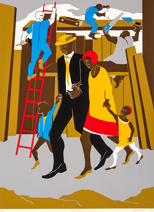 The Builders (Family), 1974, by Jacob Lawrence;