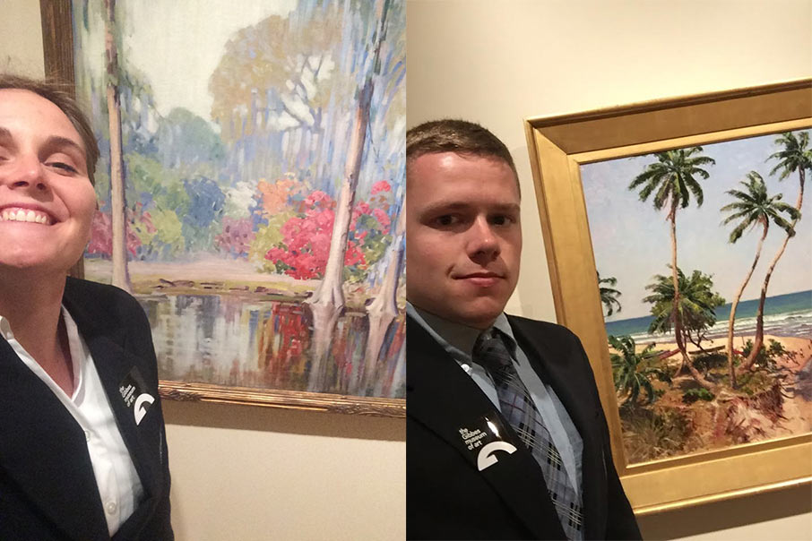 Citadel cadets are required to take a selfie with their favorite work of art when they visit the Gibbes.