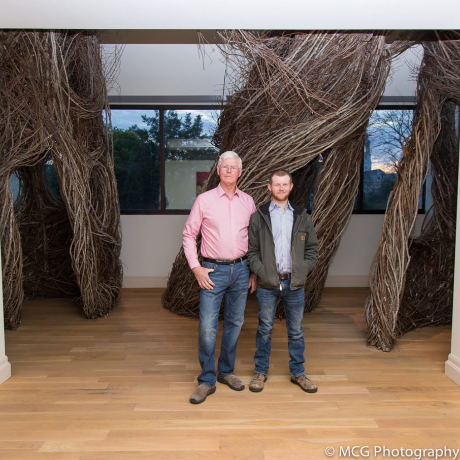 Visiting Artist Patrick Dougherty and son/assistant Sam Dougherty