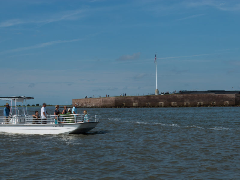 Coastal Expeditions Boat with Castle Pinckney in background, Richard Stuhr