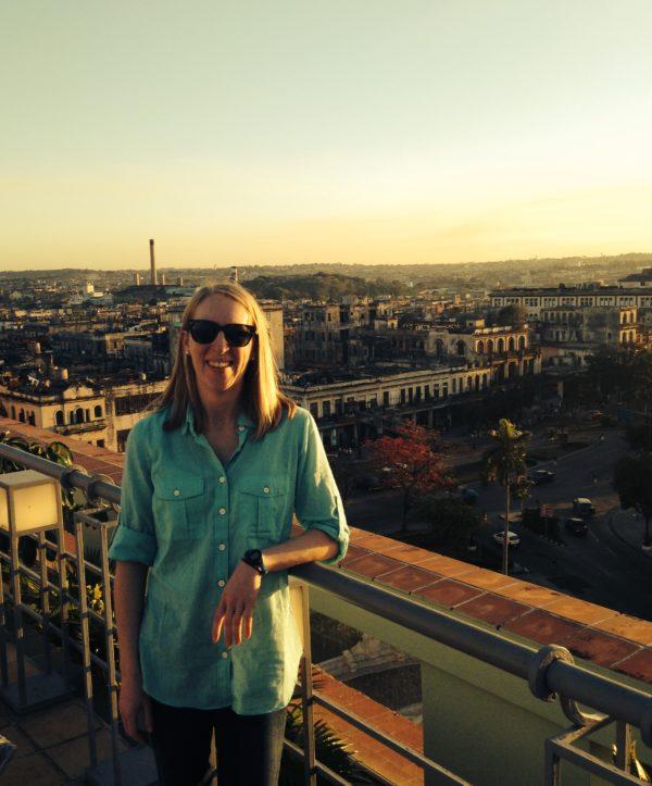 Curator Pam Wall on a rooftop in Havana, Cuba.