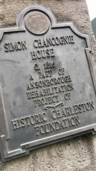 Historical plaque outside of the Chancognie House