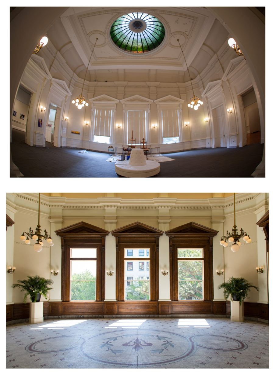 The Campbell Rotunda pre- and post-renovation.