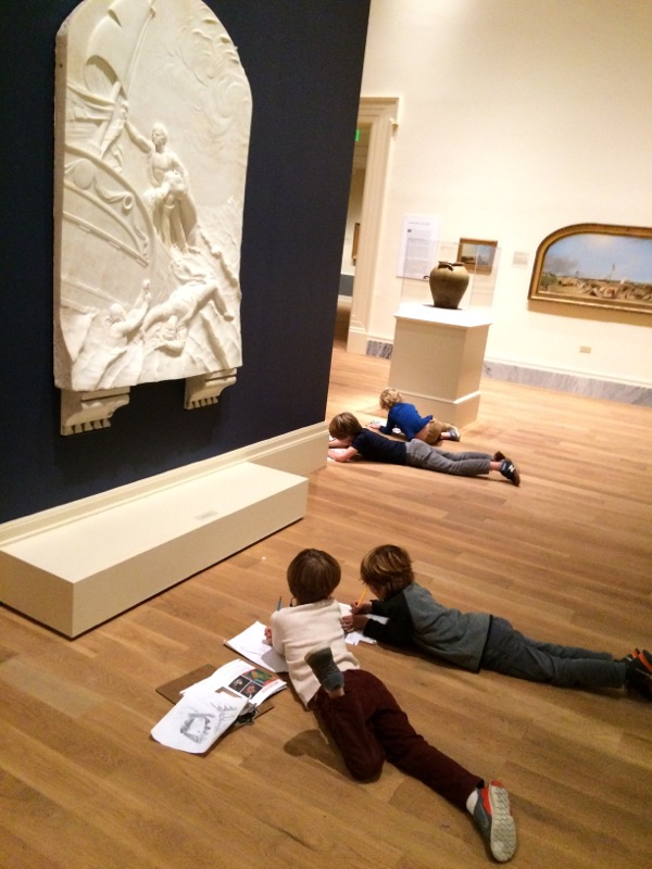 Campers enjoy sketching with friends in the galleries