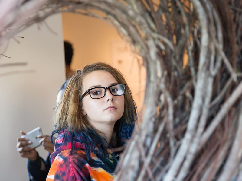 A student contemplates Patrick Dougherty's Betwixt and Between