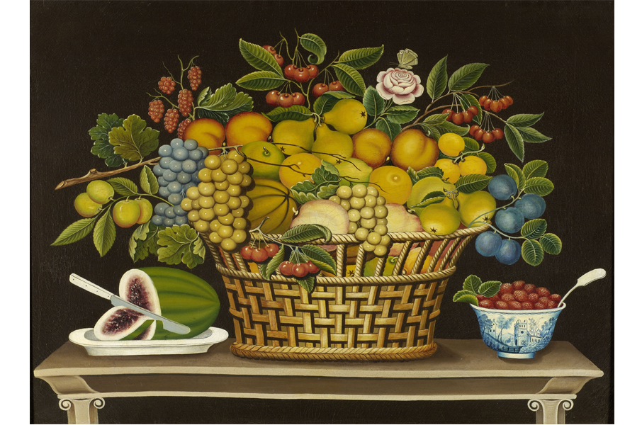 Still Life with Basket of Fruit, 1830–1850, by unidentified artist; oil on canvas; 30 x 36 1/8 inches; Courtesy of the Barbara L. Gordon Collection