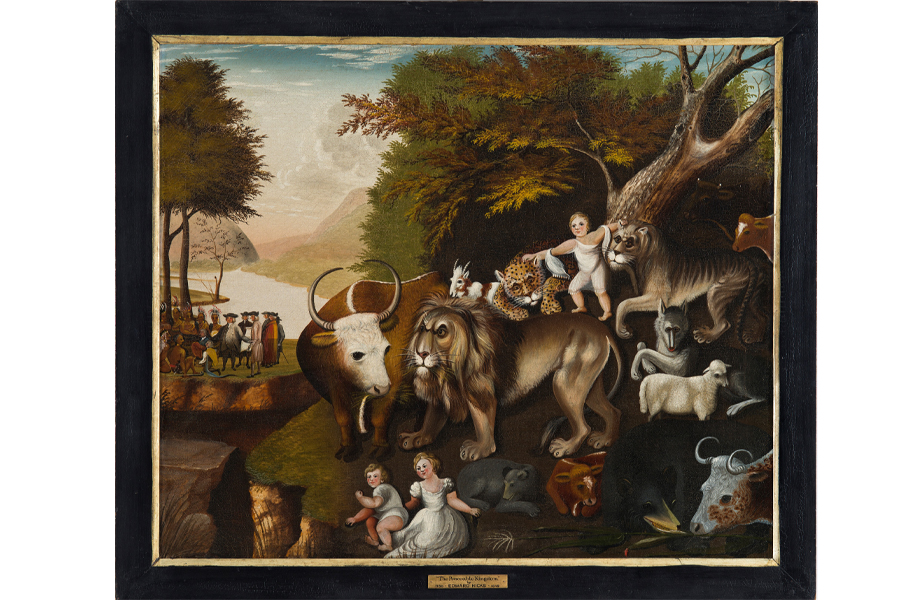 The Peaceable Kingdom with the Leopard of Serenity, 1835–1840; attributed to Edward Hicks (American, 1780–1849); oil on canvas; 34 x 40 ½ inches; Courtesy of the Barbara L. Gordon Collection