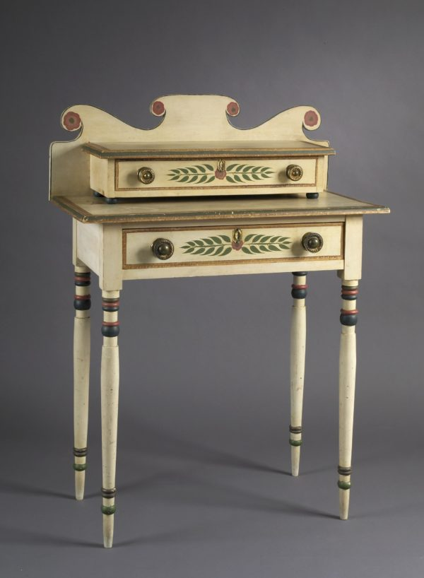 Dressing Table, 1835 – 1840, Unidentified artist; Basswood, white pine, maple, brass, and paint; 47 x 33 ¾ x 17 ¼ inches; Courtesy of the Barbara L. Gordon Collection