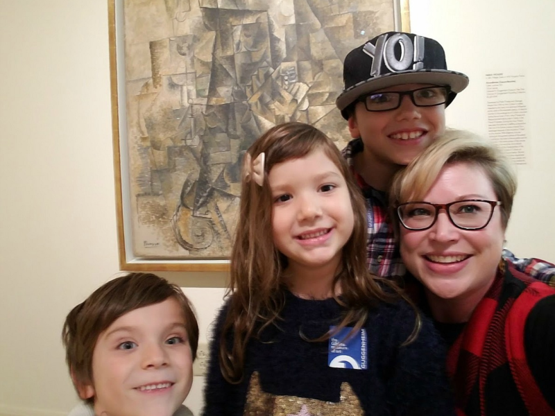Courtney Soler and her children enjoy the Guggenheim Collection at the Gibbes.