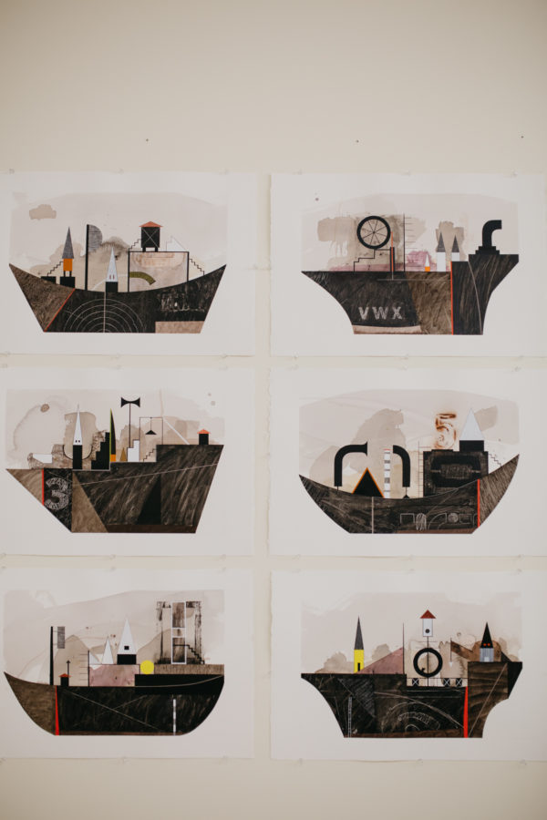 Tom began his residency at the Gibbes as a Visiting Artist with sixteen blank white canvases. These sketches, hung next to the canvases, then informed his paintings.