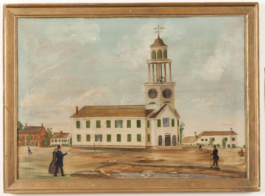 The Old South Church, c. 1854, Attributed to John Hilling (British, 1822 – 1894); Oil on canvas; 22 ¾ x 30 ¾ inches; Courtesy of the Barbara L. Gordon Collection