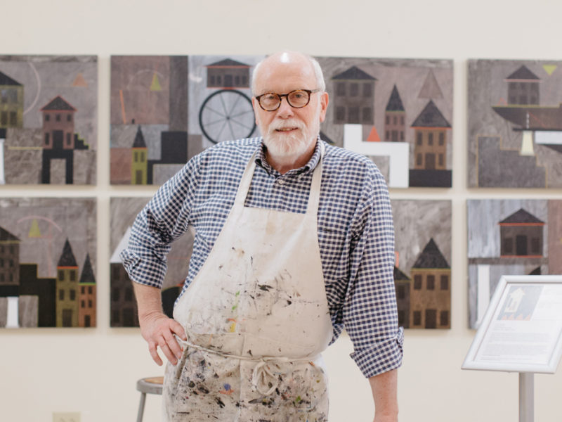 When Tom Stanley arrived at the Gibbes, he placed sixteen prepared, white canvases on a wall in Studio One. Here, we see the previously blank canvases transformed into a dynamic collection of paintings.
