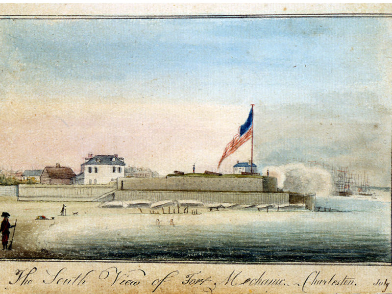 The South View of Fort Mechanic, Charleston, July 4th 1796, from untitled sketchbook, 1796 – 1805, 1796, by Charles Fraser (American, 1782 – 1860); Ink and watercolor on paper; 7 1/4 x 5 1/8 inches; Gift of Alice Ravenel Huger Smith; 1938.036.0013