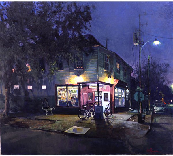 Charlie's at Night, 2018, By West Fraser (American, b. 1955); Oil on linen; 32 x 36 inches; Courtesy of a private collection