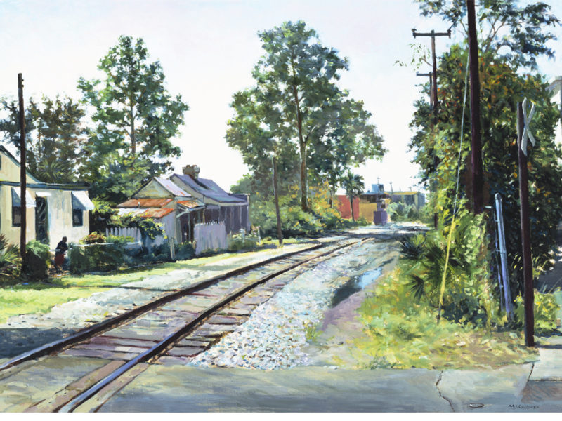 Line Street Railroad Crossing, 1991, By William McCulluough (American, b. 1948); Oil on canvas; 30 1/2 x 40 1/4 inches (framed); Museum purchase; 2001.025; Image courtesy of the Gibbes Museum of Art/Carolina Art Association