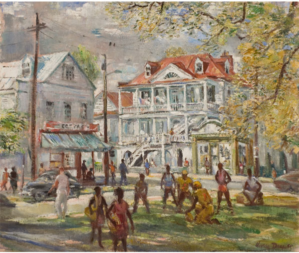Pick-up Game, Chapel Street, 1980, By Horace Talmage Day (American, 1909-1984); Oil on canvas; 25 x 30 inches; Gift of H. Talmage Day; 2005.00; Image courtesy of the Gibbes Museum of Art/Carolina Art Association