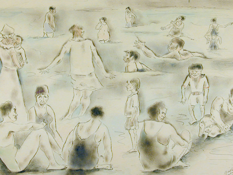 The Crowd, Folly Beach, 1930, By George Biddle (American, 1885–1973); Watercolor and ink on paper; 11 x 20 1/8 inches; Museum purchase with funds provided by the Winnie Edwards Murray Fund; 1985.027.0004