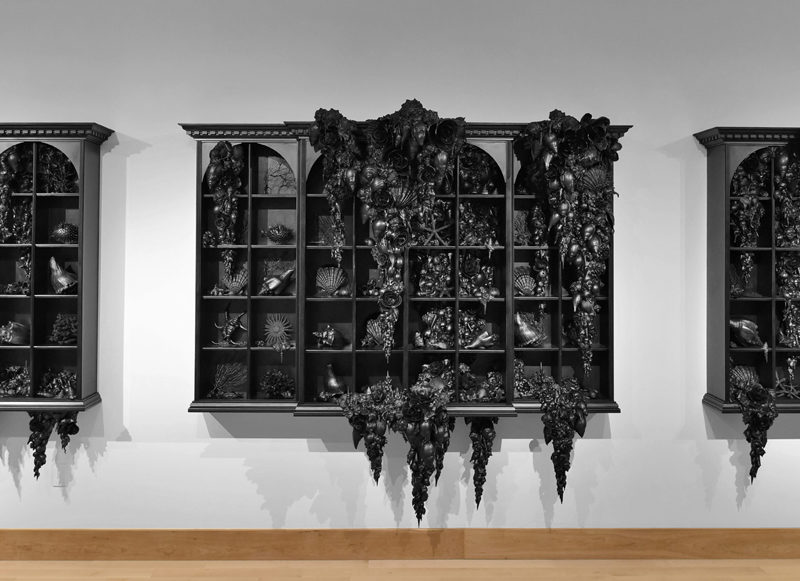 Lauren Fensterstock, The Order of Things, 2016. Shells, wood, mixed media, 78 x 240 x 26 inches. Image courtesy of the artist and Claire Oliver Gallery.