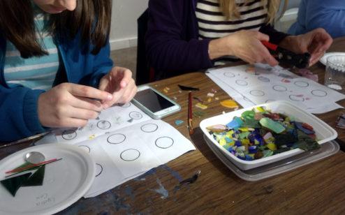 Students at work creating micromosaics
