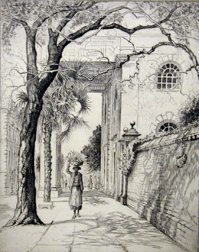 Elizabeth O'Neil Verner, In the Shadow of Saint Michaels, Charleston, ca. 1928, etching on paper, Gibbes Museum of Art (Works on Paper)