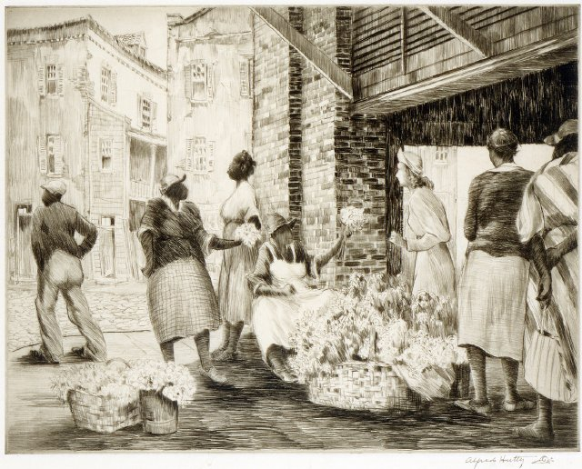 Alfred Hutty, Flower Vendors at Charleston Market, 1948, dry point on paper. (Gibbes Museum of Art)