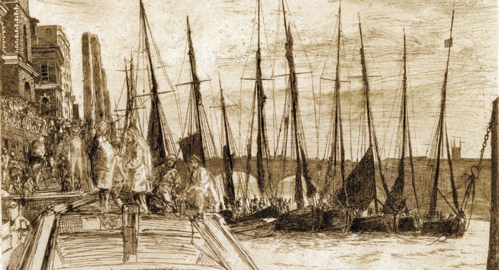 <i>Billingsgate</i>, 1859, By James A. M. Whistler (American, 1834—1903); Etching on paper; 8 1/8 x 10 7/8 inches; Gift of Dr. and Mrs. (Caroline) Anton Vreede; 2004.004.0007