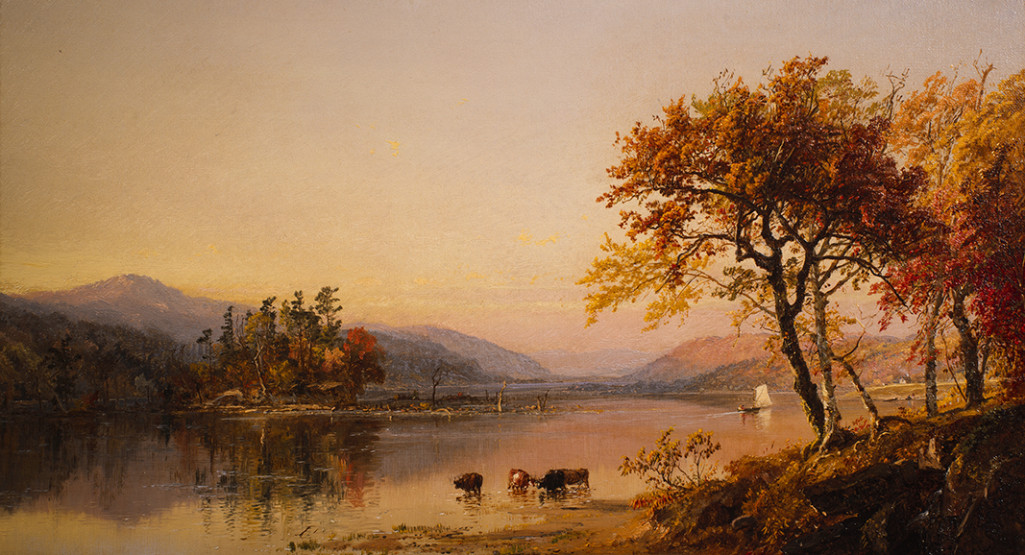 <i>Autumn Afternoon, Greenwood Lake</i>, 1873, by Jasper Francis Cropsey (American, 1823-1900); oil on canvas; 11 x 19 1/2 inches; Courtesy of the Higdon Collection