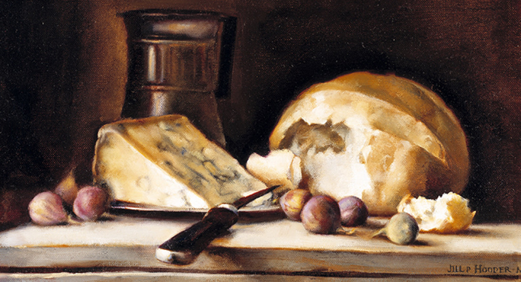<i>Remains of a Meal</i>, 2000, by Jill Hooper (American, b. 1970); oil on linen; 7 x 17 inches; Museum purchase with funds provided by a gift of the Charleston Fine Art Dealers Association; 2000.026