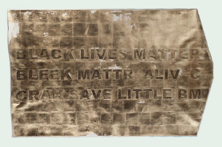BLACK LIVES MATTER (Tranformation), 2016. Composition gold leaf on paper; 52 x 81 inches. Courtesy of the artist.