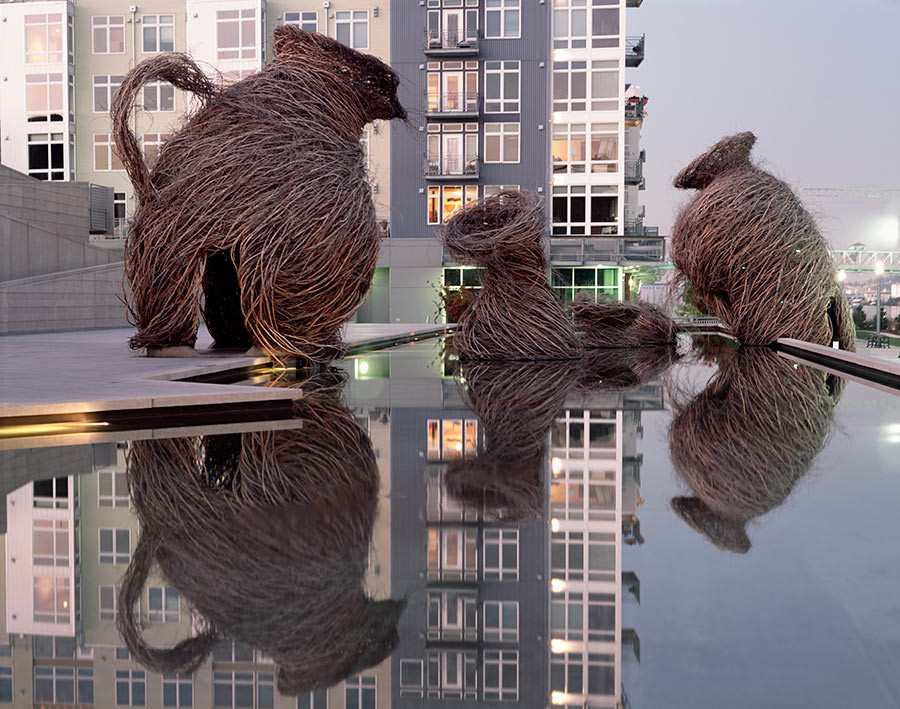 <em>Call of the Wild</em>, 2002, by Patrick Dougherty. Museum of Glass, Tacoma, WA. Photo: Duncan Price.