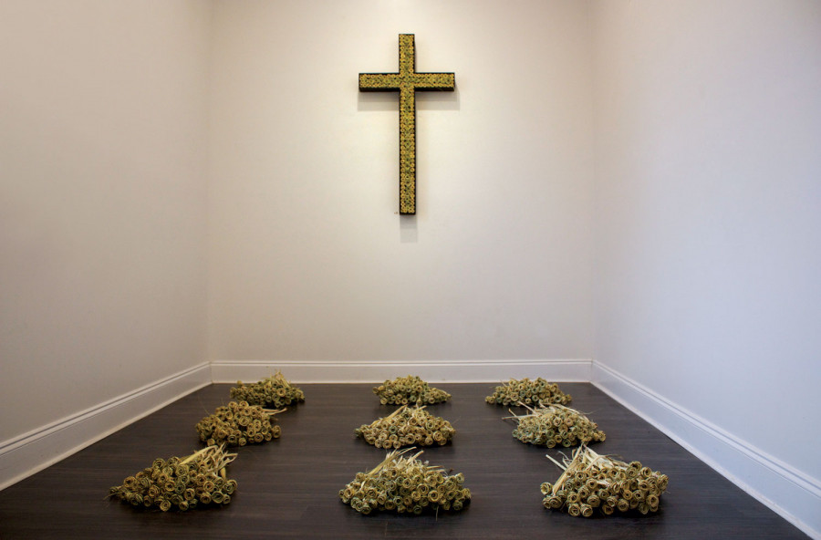 <i>Chapel</i>; 2015, Wooden Cross adorned with Palmetto Roses, Floor: 9 Bouquets - 100 Palmetto Rose ea.