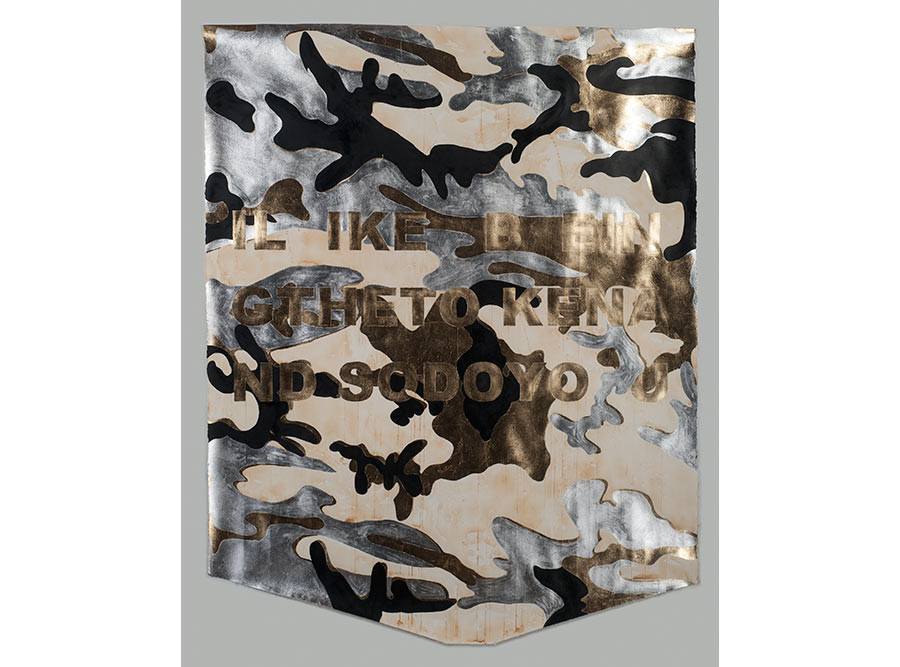 I LIKE BEING THE TOKEN AND SO DO YOU (Camo), 2016. Composition gold and aluminum leaf, India ink, and singed paper; 52 x 52 inches. Courtesy of the artist.