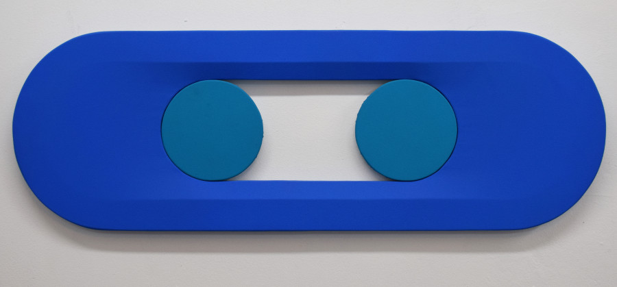 <i>Blue Stretch with Two Points</i>: vinyl acrylic on canvas, 36x12 inches, 2018