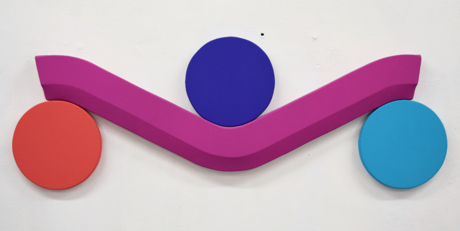 <i>Violet Line with Three Points</i>: vinyl acrylic on canvas, 30x11 inches, 2018